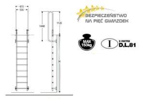 Faraone Drabina ewakuacyjna bez pierścienia zabezpieczającego, ze stałą długością kotew, wysokość 1,52/1,80m. SVS0-180-0