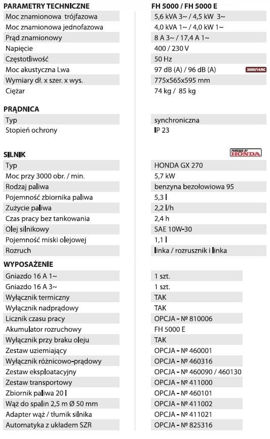Fogo Agregat prądotwórczy trójfazowy FH 5000-26902