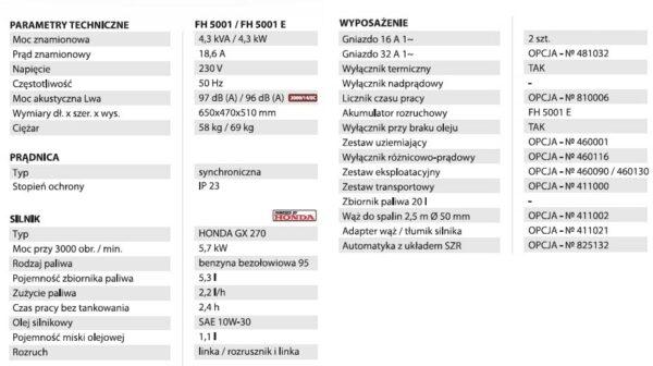 Fogo Agregat prądotwórczy FH5001-26787