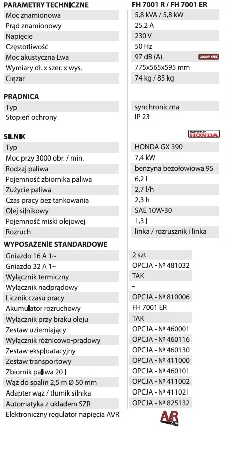 Fogo Agregat prądotwórczy FH 7001 R AVR-26898