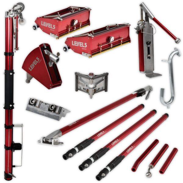 Level5 4-601 Tools Full SET with extension handlesz zestaw z przedłużeniem do obróbki wykończeniowej płyt kartonowo gipsowych (Level 5)-0