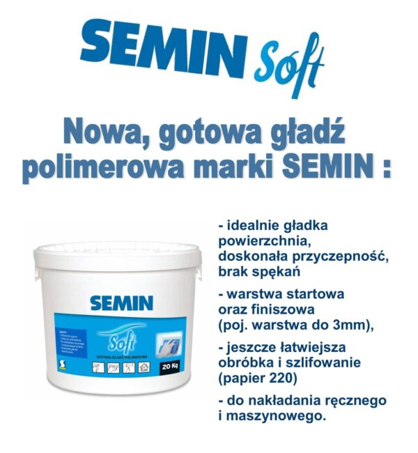 SEMIN SEMIN SOFT gotowa gładź polimerowa łatwa do szlifowania 20kg wiaderko 1 paleta 36szt-42373