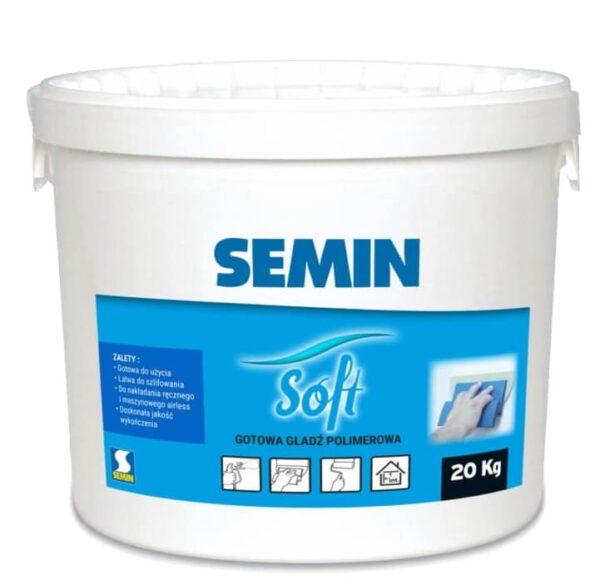SEMIN SEMIN SOFT gotowa gładź polimerowa łatwa do szlifowania 20kg wiaderko 1 paleta 36szt-42375