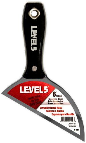 5-201 LEVEL5 szpachelka do spoinowania płyt kartonowo gipsowych stal nierdzewna z uchwytem z czarnego nylonu-0
