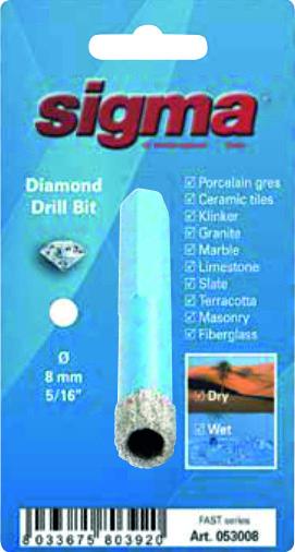 SIGMA Otwornica diamentowa do wiercenia na MOKRO I SUCHO, wiertło diamentowe 10 mm (53010)-47261