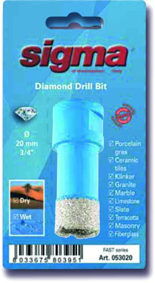 SIGMA Otwornica diamentowa do wiercenia na MOKRO I SUCHO, wiertło diamentowe 12 mm (53012)-47266