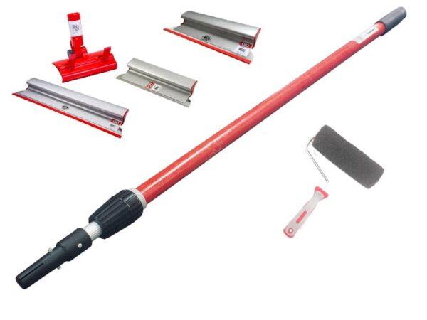 OLEJNIK Zestaw aluminiowych szpachelek, pac do gładzi grubość blachy 0,3 mm (40,60,80, teleskop, adapter) + wałek -0
