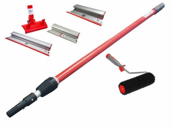 OLEJNIK Zestaw aluminiowych szpachelek, pac do gładzi grubość blachy 0,3 mm (40,60,80, teleskop, adapter) + wałek -46887