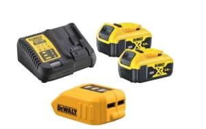 DEWALT Zestaw akcesoriów 18V XR Ładowarka wielonapięciowa XR + 2 akumulatory 5.0 Ah (DCB115 + 2XDCB184) + POWERBANG, przenośna ładowarka adapter USB do ładowania z akumulatorów XR 10,8 V, 14,4 V i 18 V DCB115P2-QW + DCB090-XJ-0