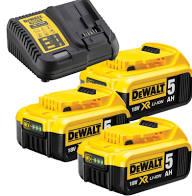 DEWALT Zestaw akcesoriów 18V XR Ładowarka wielonapięciowa XR + 3 akumulatory 5.0 Ah (DCB115 + 3XDCB184) DCB115P3-QW-0
