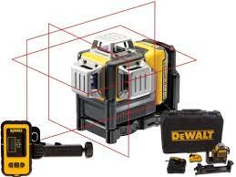 DEWALT Laser krzyżowy 3-wiązkowy samopoziomujący 360° 10,8V + Detektor DCE089D1R-QW + DE0892-XJ-0