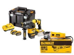 DEWALT Zestaw narzędzi Młotowiertarka z udarem pneumatycznym SDS-Plus z silnikiem bezszczotkowym 3-funkcyjna 28mm, 2.8J, 0-980 obr/min, 0-4390 ud/min XR FLEXVOLT 18V/54V/6.0Ah + Szlifierka kątowa 125 mm, 900 W z elektroniką DCH323T2-QW + DWE4157-0