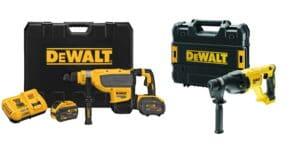 DEWALT Zestaw narzędzi akumulatorowych Młotowiertarka z udarem pneumatycznym SDS-MAX 13.3 J XR FLEXVOLT 18V/54V/9.0Ah + Młotowiertarka, wiertarka udarowa z udarem pneuatycznym SDS-Plus 26mm, 2.6J XR Li-Ion 18V z silnikiem bezszczotkowym DCH733X2-QW + D-0