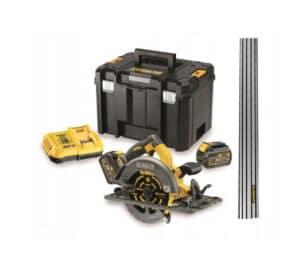 DEWALT Pilarka Tarczowa 190mm akumulatorowa 18V/54V/6.0Ah XR FLEXVOLT + szyna prowadząca, prowadnica 1,5m do zagłębarek i pił DCS576T2-QW + DWS5022-XJ-0