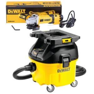 DEWALT Odkurzacz przemysłowy 30l - Klasa L 1400W z zaczepem do montowania skrzynek + Szlifierka kątowa 125 mm, 1500 W z elektroniką DWV901LT-QS + DWE4257-0