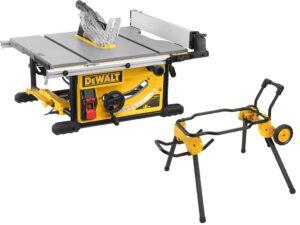 DEWALT Zestaw Pilarka stołowa, piła 250mm, 2000W, 3800 obr/min + wózek transportowy, podstawa pod pilarkę DWE7492-QS + DWE74911-XJ-0